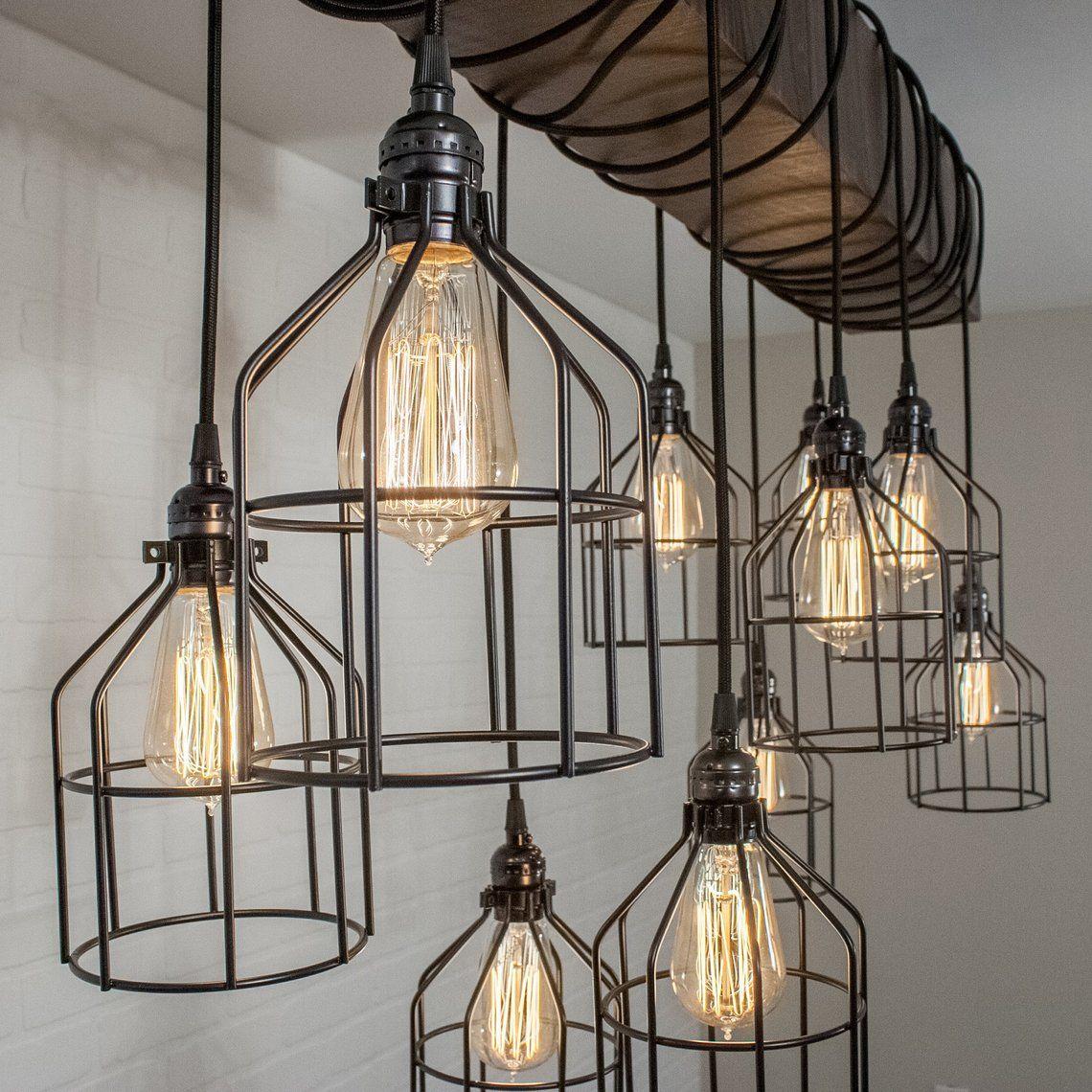 Wood Beam Light Industrial Lighting Fixture 10 Pendant