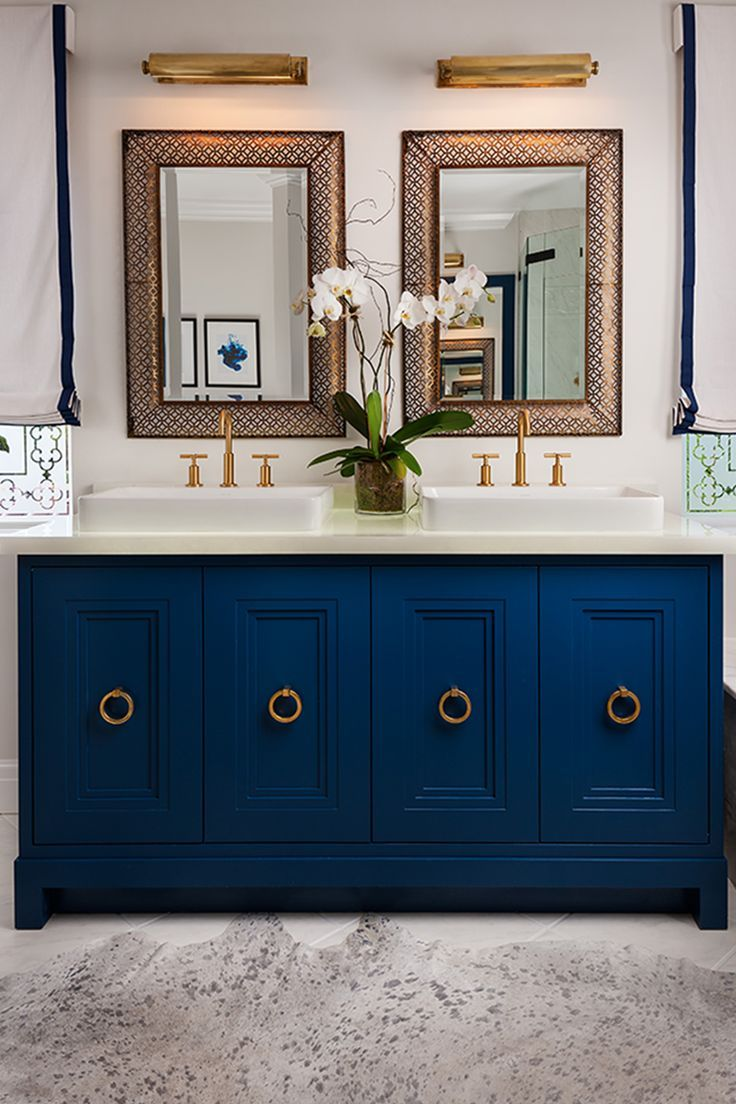 Blue Vanity, Brass Details | Brilliant Bathrooms | Pinterest | Blue ...