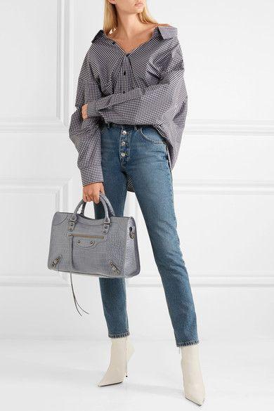 b333f18c91a0 BALENCIAGA Classic City gray croc-effect leather tote