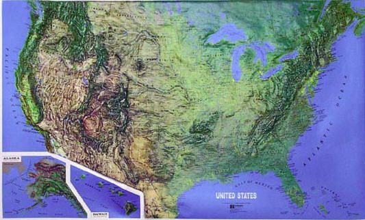 Topographic Relief Map Of The United States Tennesse - Terrain map of the us