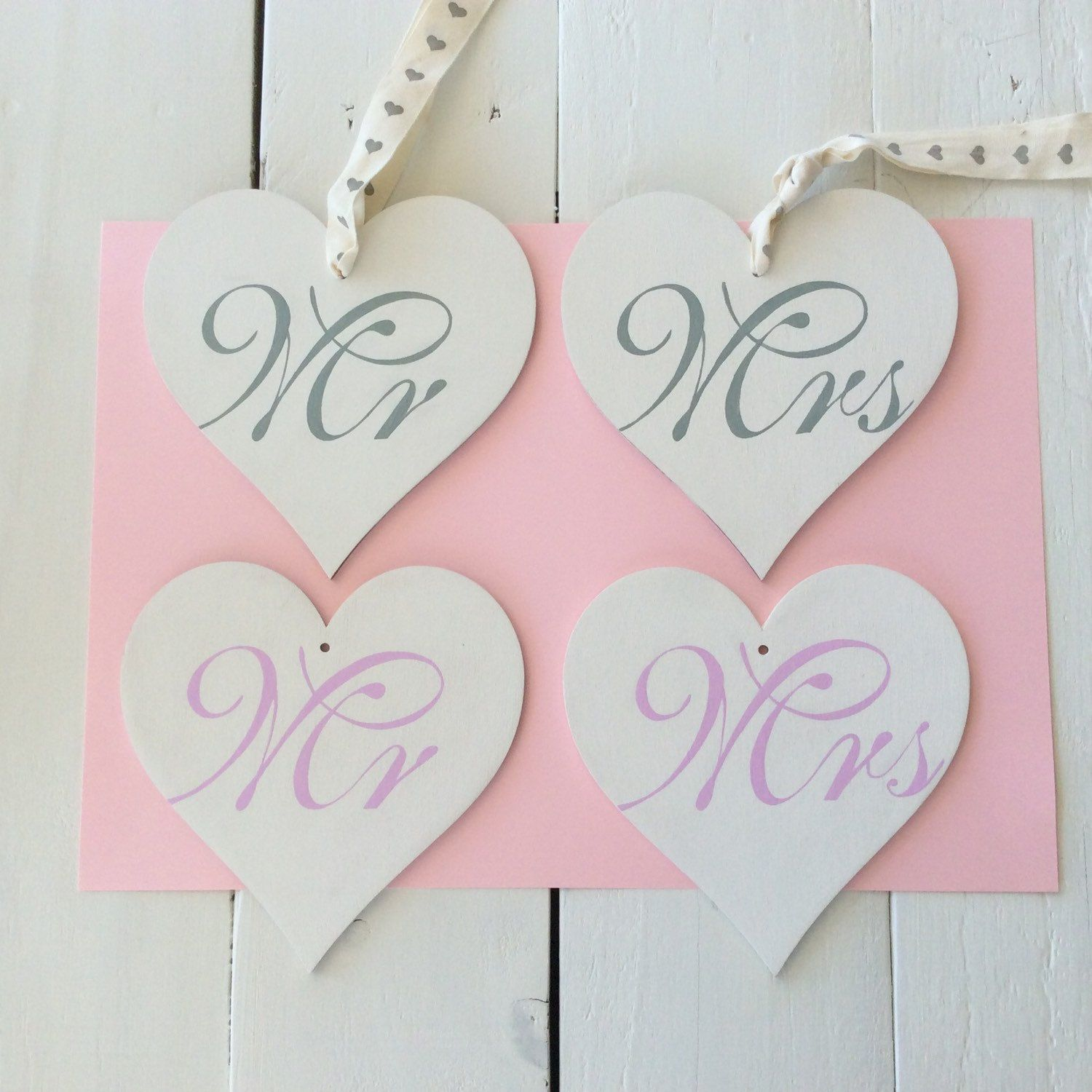 Personalised Birchwood Hearts, Mr & Mrs Hand Painted Hearts, Wedding ...