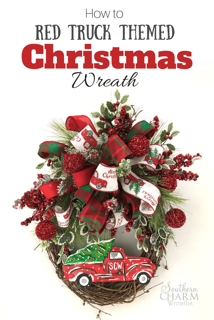 In This Step By Step Video Let S Make A Red Truck Christmas Wreath For Your Front Door Using Ribbon And Greenery Christmas Wreaths Wreaths Christmas Red Truck