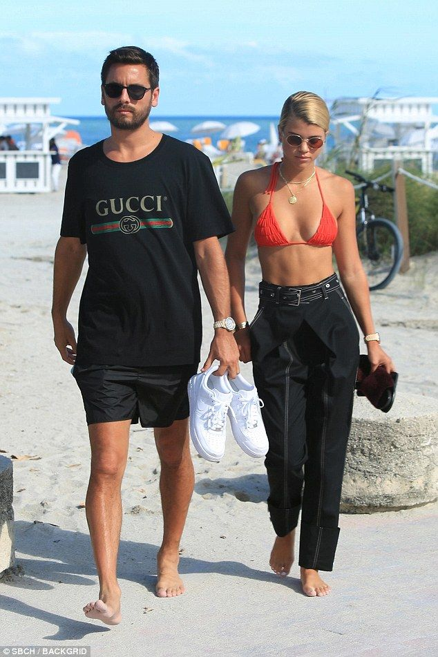 Bouncing back: Scott Disick, 34, and his 19-year-old girlfriend Sofia Richie recovered with yet another day together on the beach on Saturday