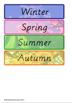 Beautiful Season Name cards - matching month cards also for