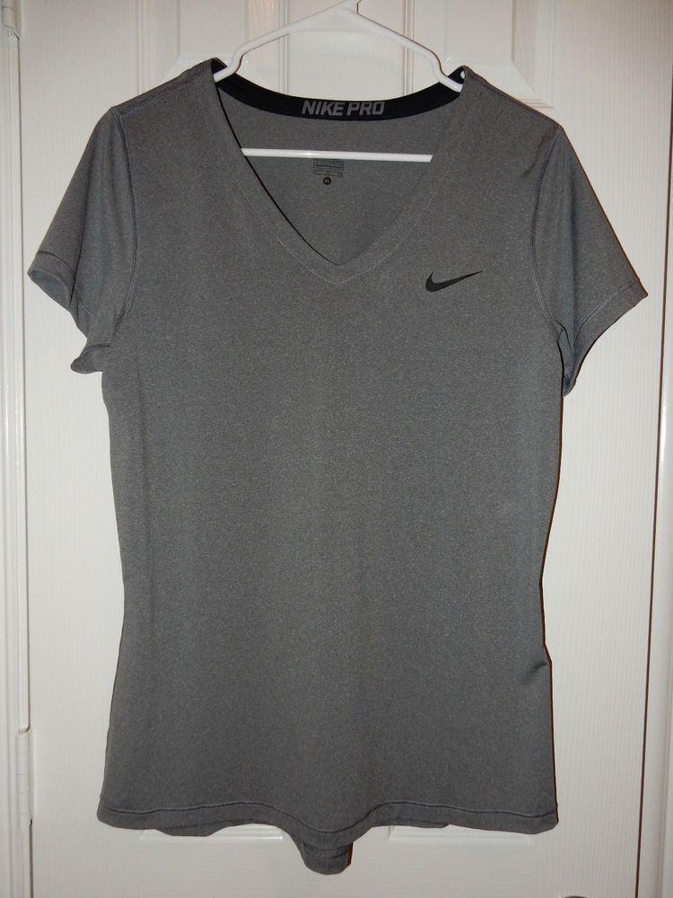 bb30891fbc81 Ladies Nike Pro Dri-Fit Grey Athletic Workout Activewear T Shirt - XL L