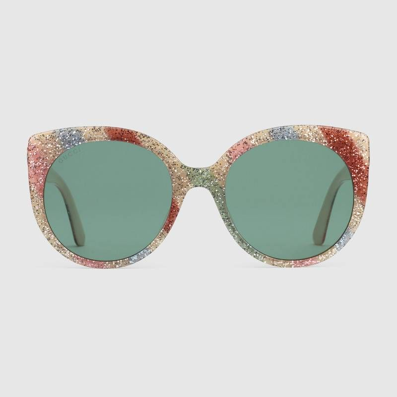 f3d2cbd9da9 Gucci Cat eye glitter acetate sunglasses