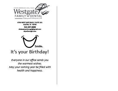 Back Of The Birthday Card Westgate Family Dental Steven L