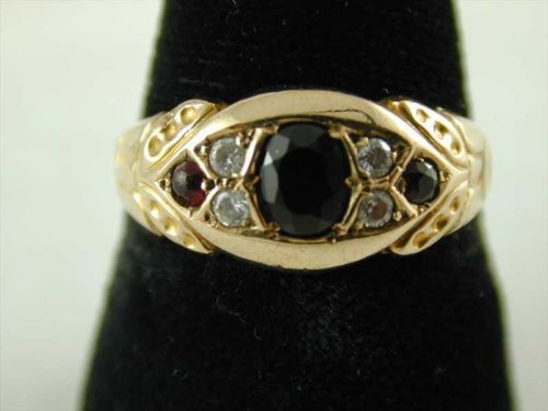ART NOUVEAU GARNET & WHITE SAPPHIRE RING 9CT GOLD DATED 1912 0.57 CTS