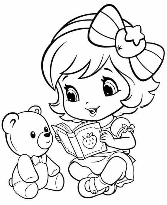 Baby Strawberry Shortcake Reading to teddy bear | Colouring Pages ...