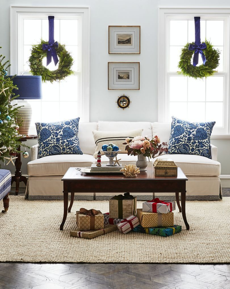Classic Coastal Christmas Decor With Touches Of Chinoiserie And Organic  Style With Wood Furnishings And Natural