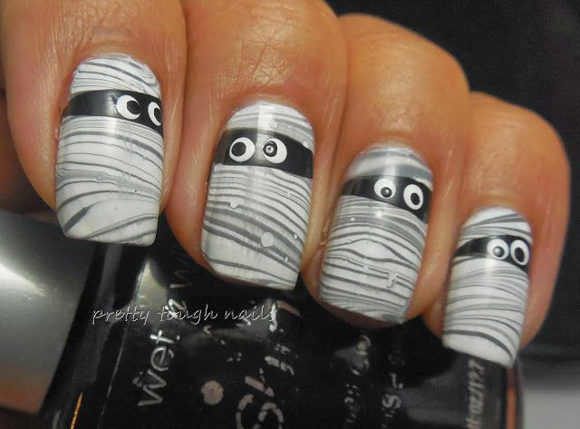 Mummy water marble nail art from Pretty Tough Nails