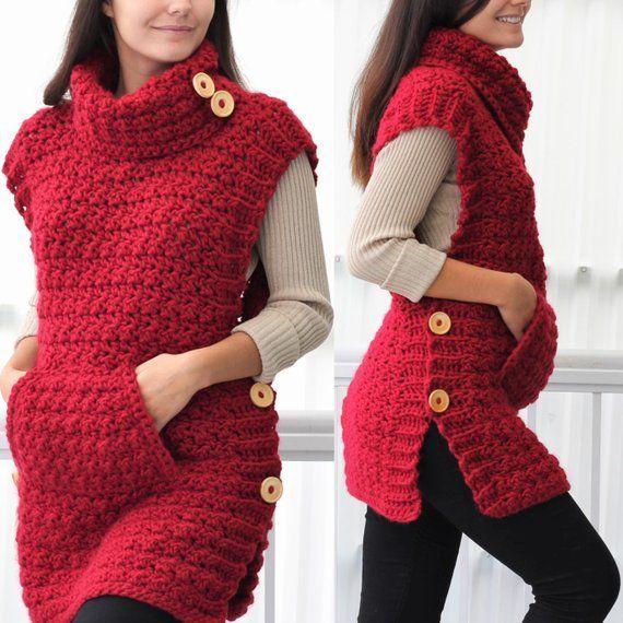 Häkelanleitung Patron häkeln, LYANA Crochet Poncho Muster, PDF, Crochet Weste, Crochet Wrap, ... #ponchosweater