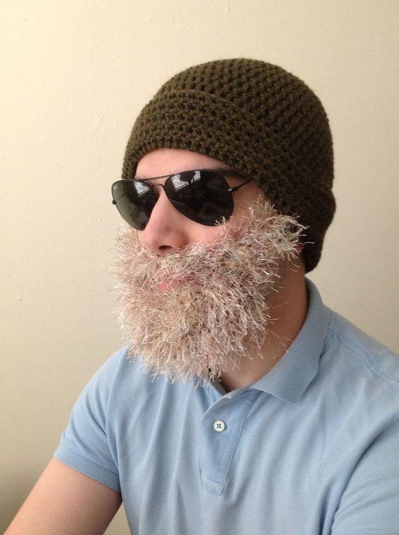 Handmade Crochet Beard Hat in Olive green beanie hat by SueStitch, $39.99 #crochetedbeards