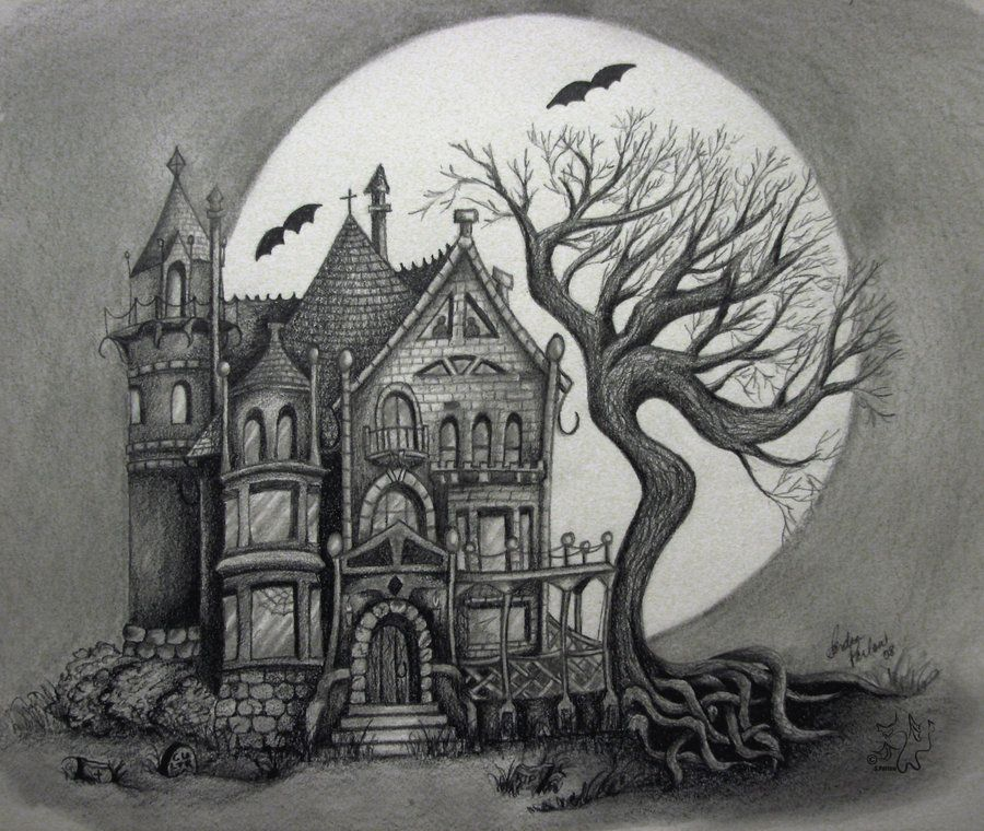 Spooky house by handie on deviantart haunted houses for Easy haunted house to draw