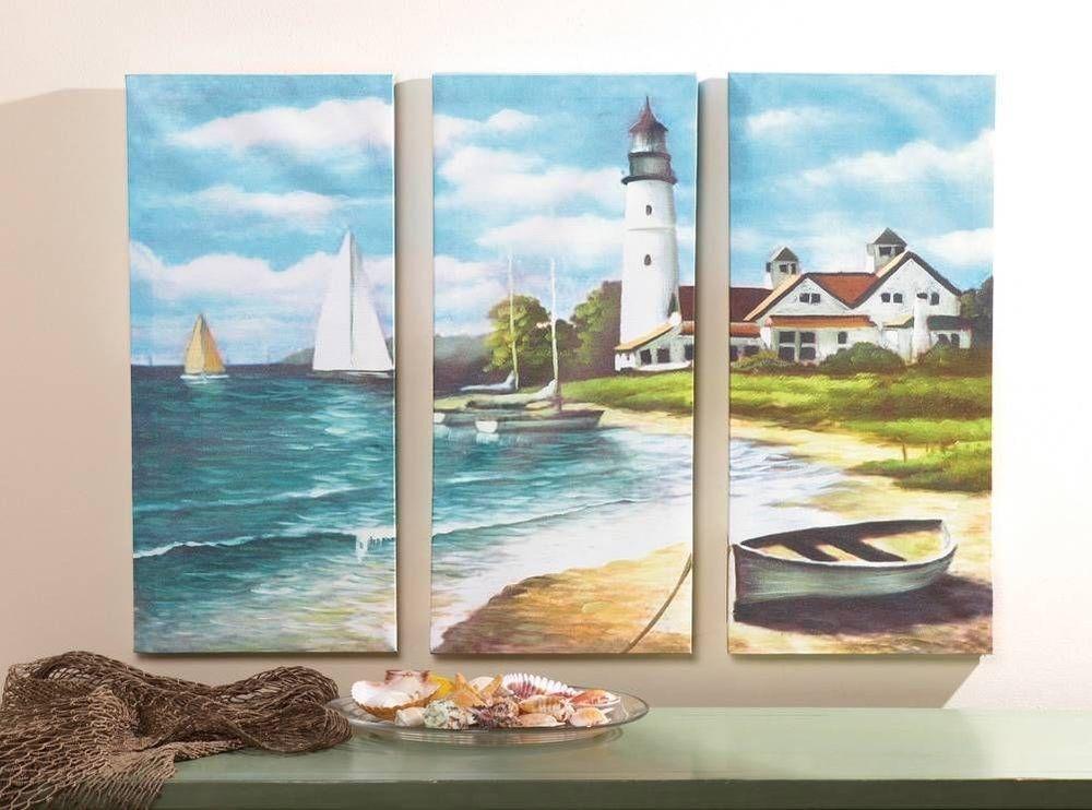 3 Piece Lighthouse Canvas Art Set Wall Decor Beach Nautical Home New Nautical Beach Scene Painting Beach Wall Decor Ocean Decor