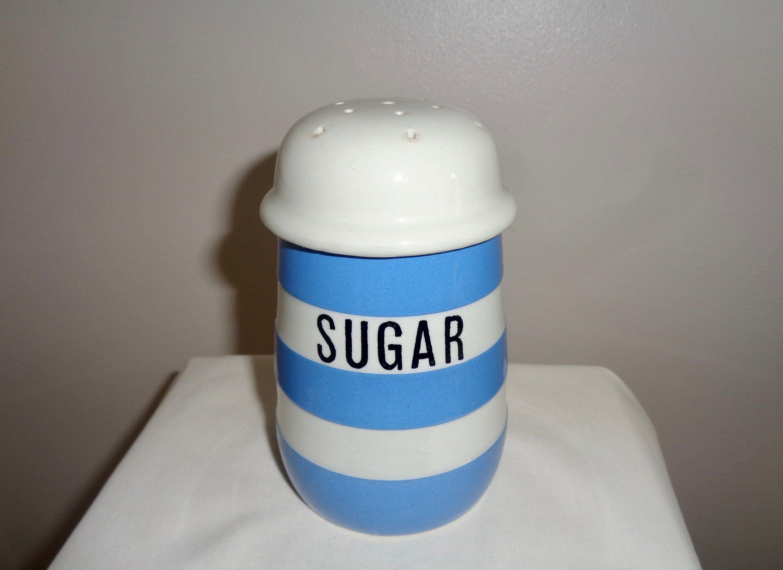 Vintage TG Green Cornishware Sugar Shaker. Blue and White