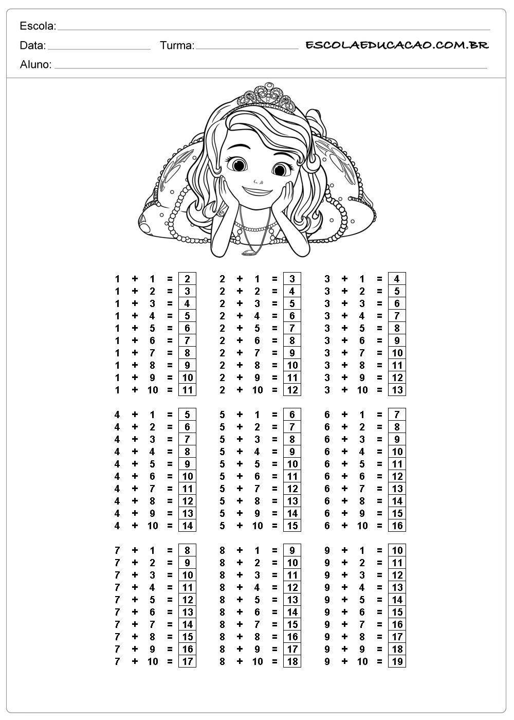 Atividade De Tabuada Para Imprimir Adicao De Princesa Tabuada