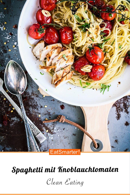 Spaghetti mit Knoblauchtomaten und Hähnchen