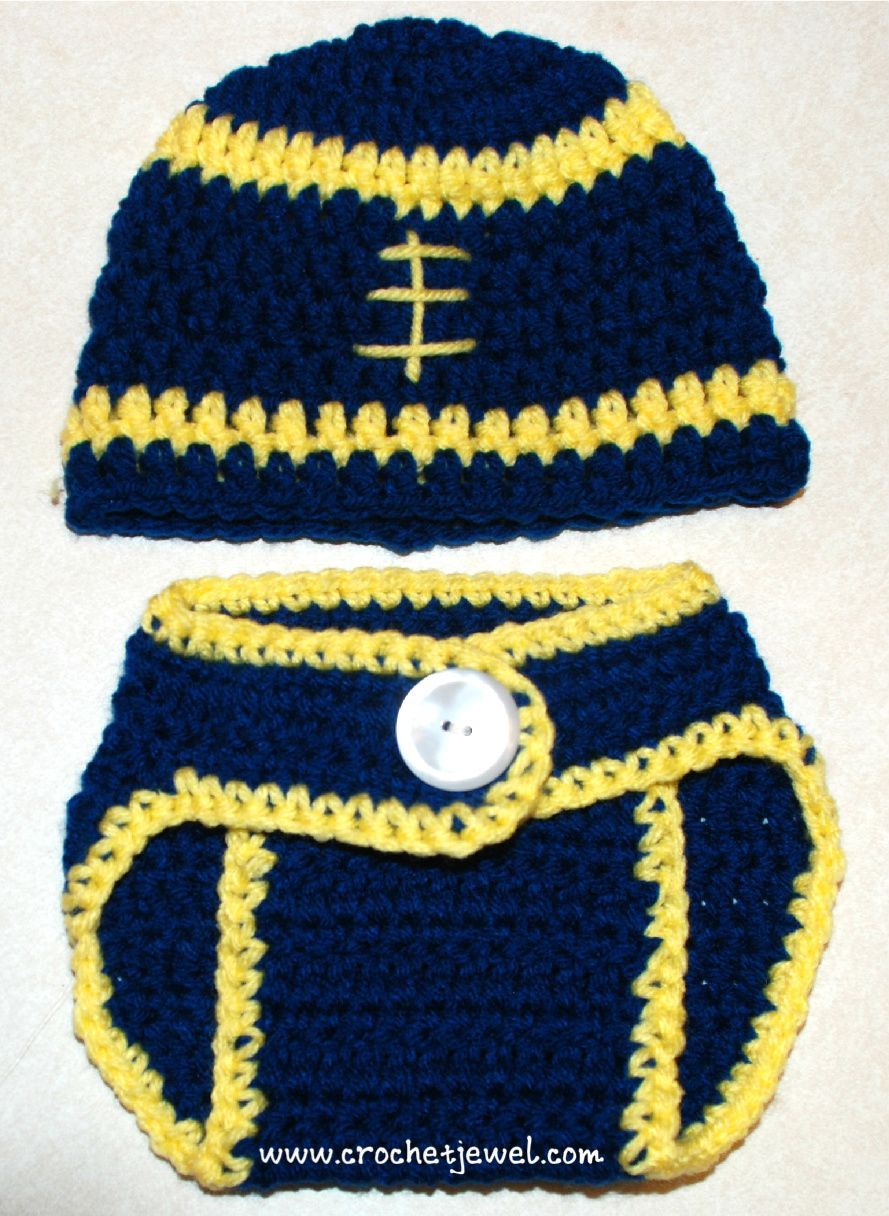 610c0baf4582 FREE crochet pattern for a Crochet Baby 0- 3 Months Football Hat and Diaper  Cover by Crochet Jewel.