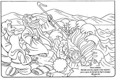 Moises E A Travessia Do Mar Vermelho Para Colorir Jpg 400 268