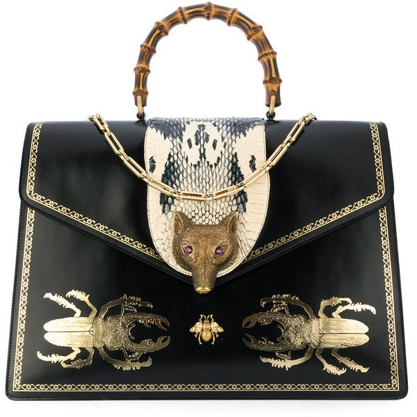 0eaf09b99d3b81 Gucci Broche beetle print top handle bag ($5,940) ❤ liked on Polyvore  featuring bags, handbags, black, bamboo handle bag, chain strap purse,  bamboo handbag ...