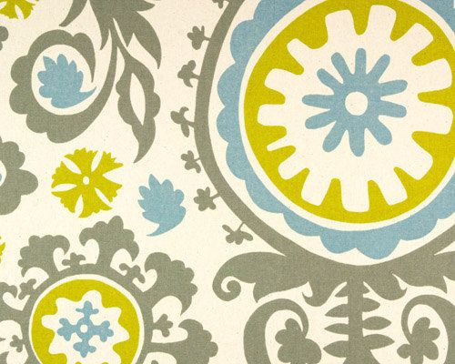 Gray Suzani Fabric TurquoiseBlueMustard Yellow Fabric Home