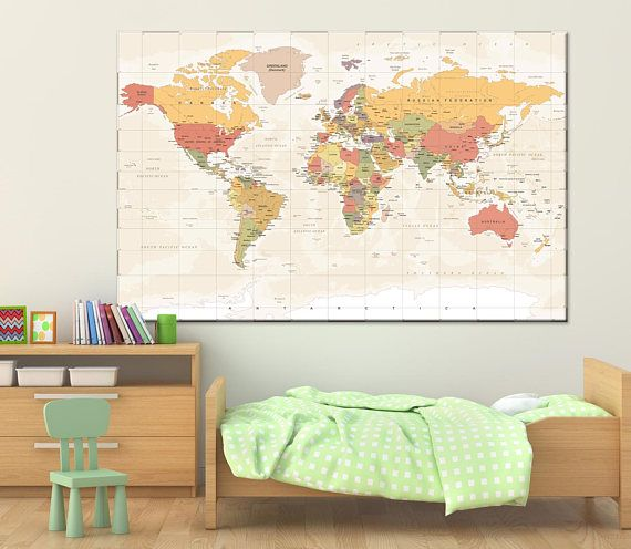 Colorful detailed world map wall art with countries names canvas colorful detailed world map wall art with countries names canvas printextra large world maphome decor world map canvas print ready to hang 1 24 35 gumiabroncs Images