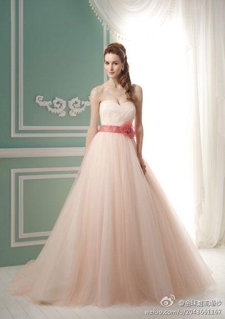 Strapless A Line Flower Girdle Wedding Dress