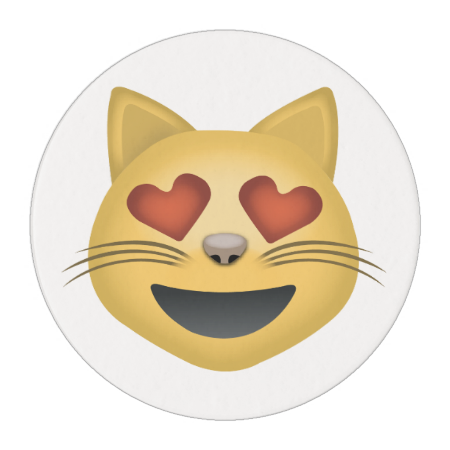 Smiling Cat Face With Heart Shaped Eyes Emoji Edible