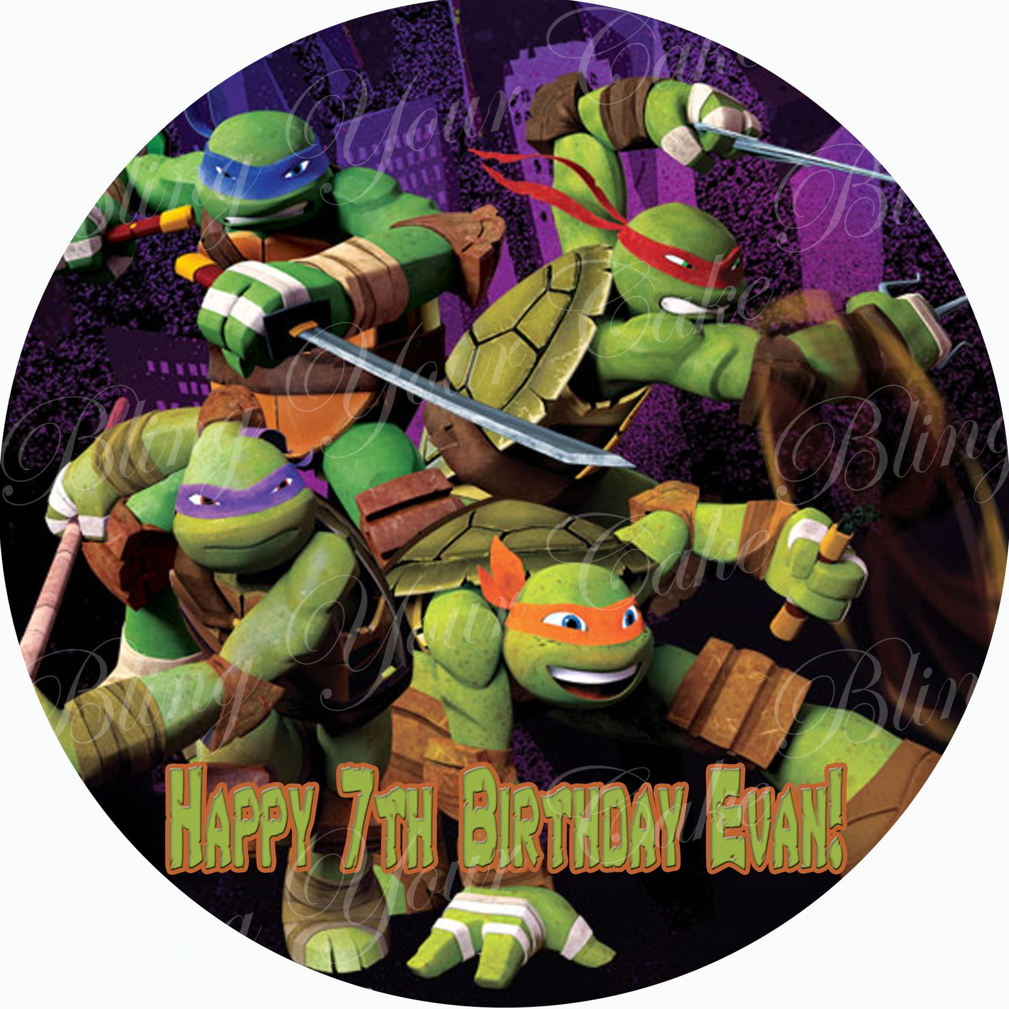 Teenage Mutant Ninja Turtles Tmnt Inspired Edible Icing Round Cake Decor Toppers Tmnt10 Fig Cake Edible Icing Sheets Edible Images
