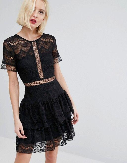 Black lace shift dress river island