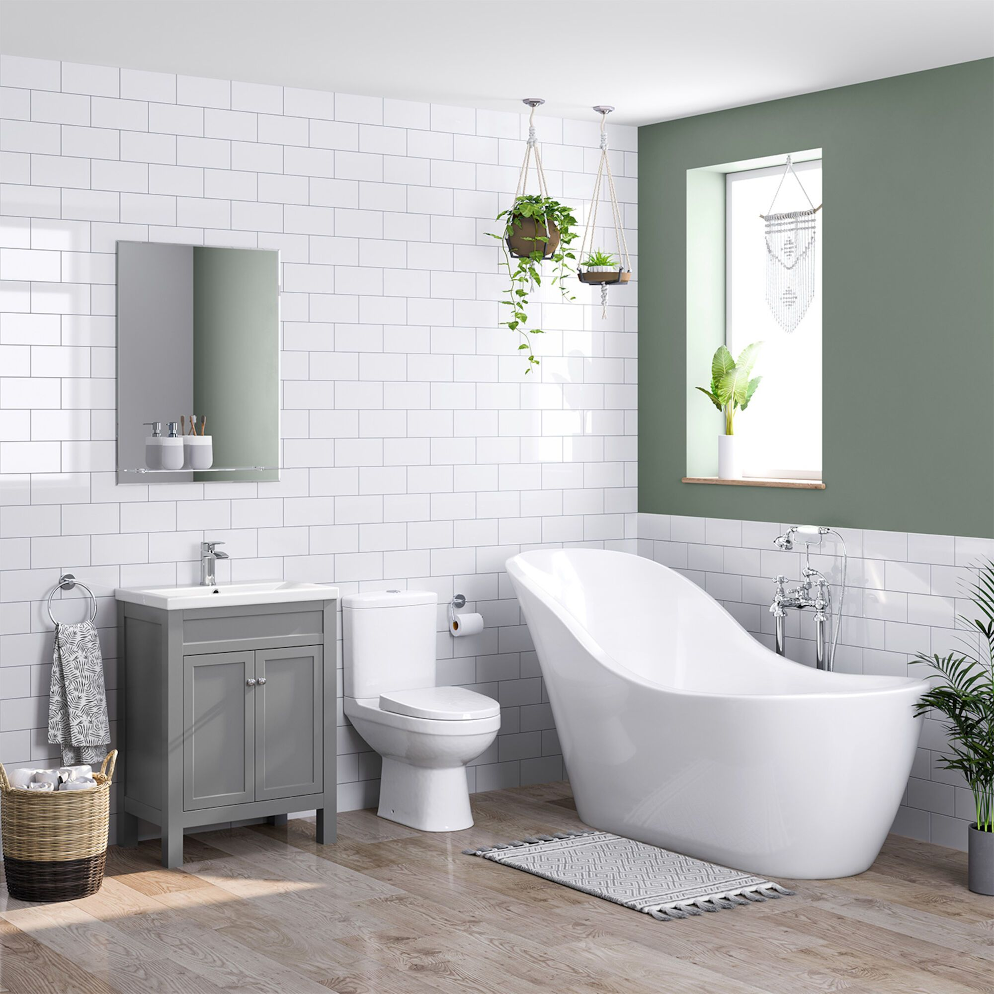 1730x725mm Evelyn Freestanding Bath Suite