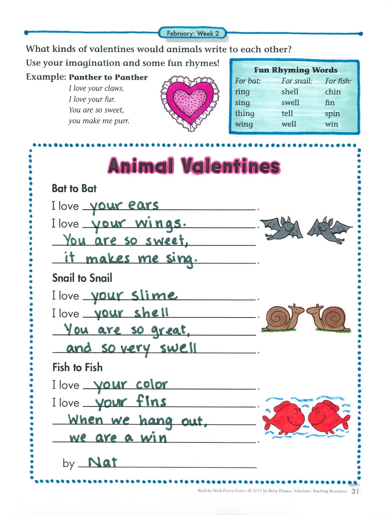 What kinds of valentines would animals write to each other? In this ...