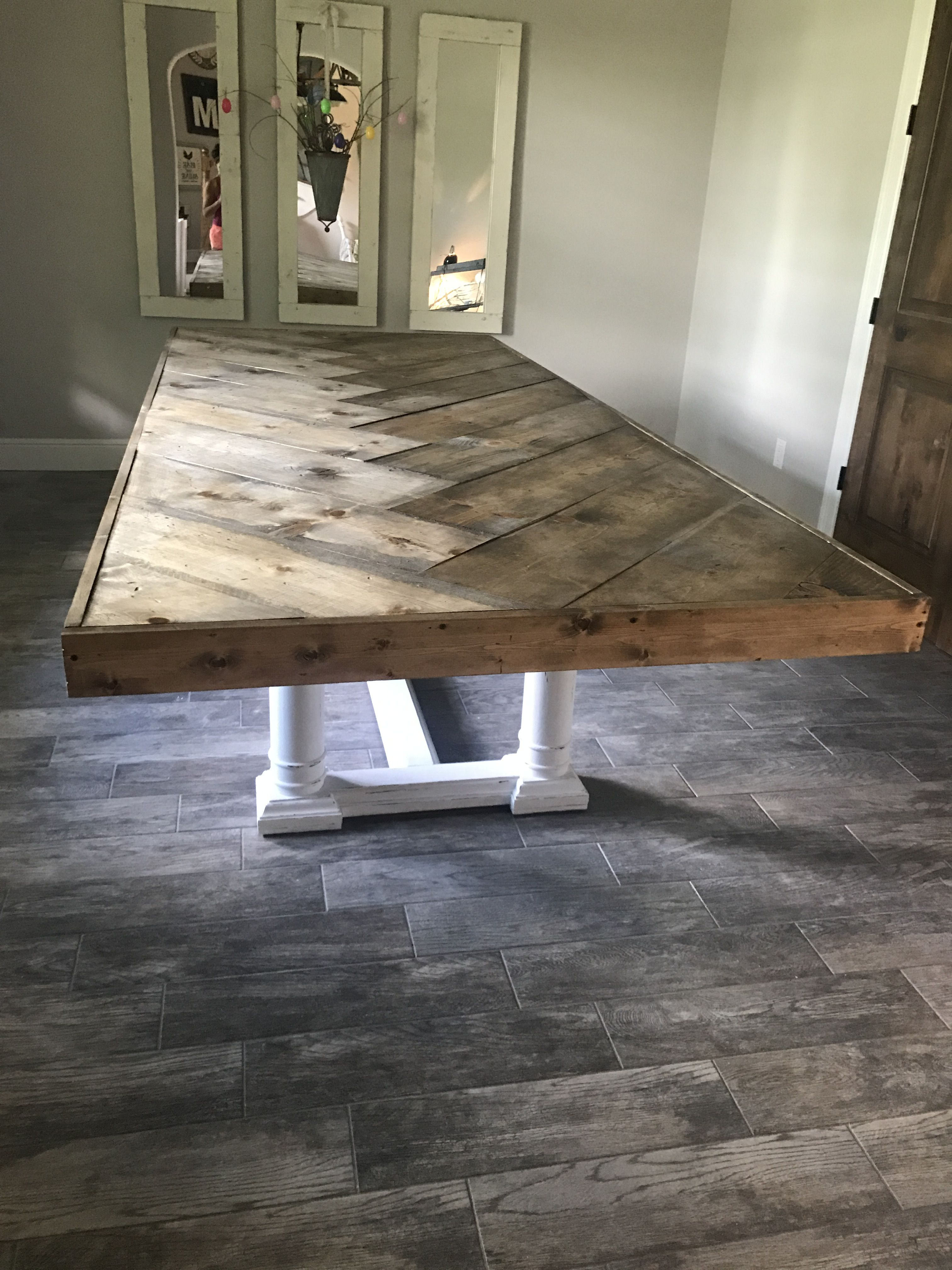 Herringbone Table Top Diy Dining Room Table Farmhouse Dining