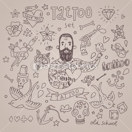 vector de dibujos animados del tatuaje conjunto linda coleccin vintage de tatuaje corazn paloma