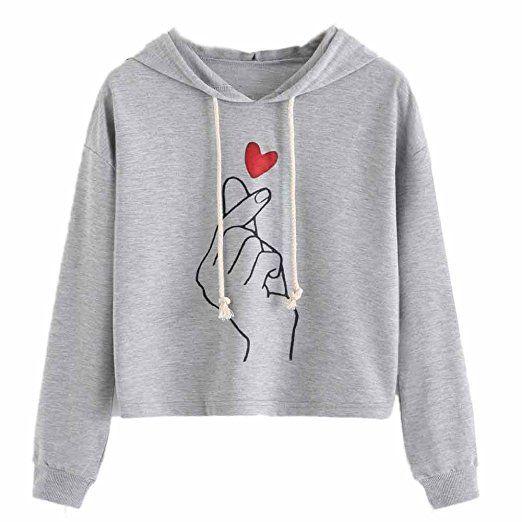 b79fb14cd10 NarZhou Cute Croptop Hoodie for Women Teen Girl Cotton Give You My Heart  Pullover Top Sweatshirt (Gray, M)