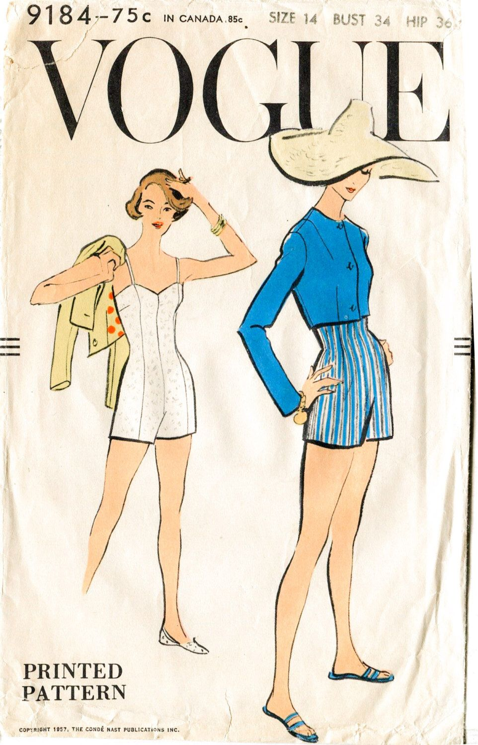 1950s vintage sewing pattern beach swim bathing suit one piece bust ...