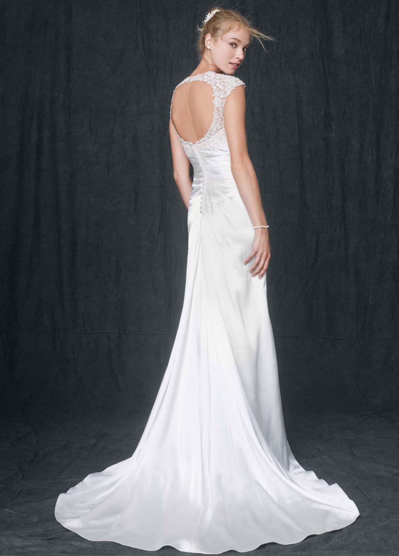Lace keyhole back wedding dress  Slim Charmeuse Gown with Lace Keyhole Back  Davidus Bridal