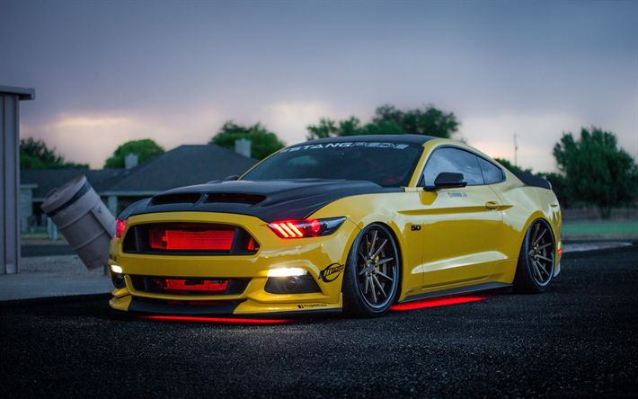 Download Wallpapers Ford Mustang Gt Tuning Apollo Edition Supercars Yellow Mustang American Cars Ford Yellow Mustang Ford Mustang Gt Mustang Wallpaper