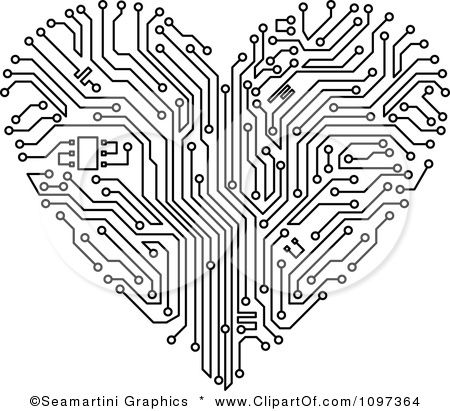 Clipart Black And White Circuit Board Heart - Royalty Free Vector ...