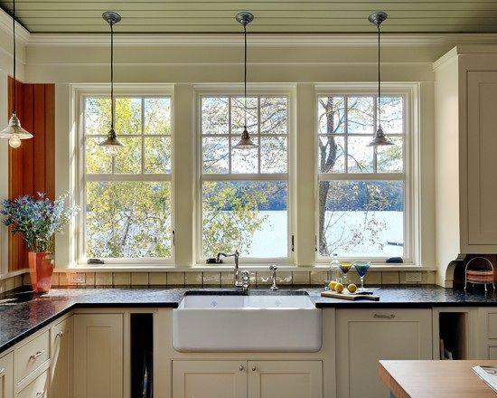 Kitchen Windows Over Sink Ideas | No Upper Cabinet Kitchen Ideas | Kitchen  Back Of Windows Over Sink And .