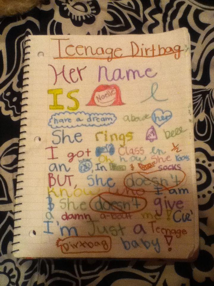 """Teenage Dirtbag"" (A song from my school days/teenage ..."