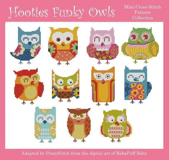 Free Printable Cross Stitch Patterns   Hooties Funky Owls Minis Cross Stitch PDF Chart by ...   cross stitch