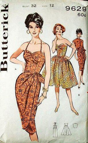 Vintage Hawaiian Sarong Sewing Pattern Butterick 9629 Bombshell Pin Up Dress Bolero Jacket Mad Men Size 12 Uncut New