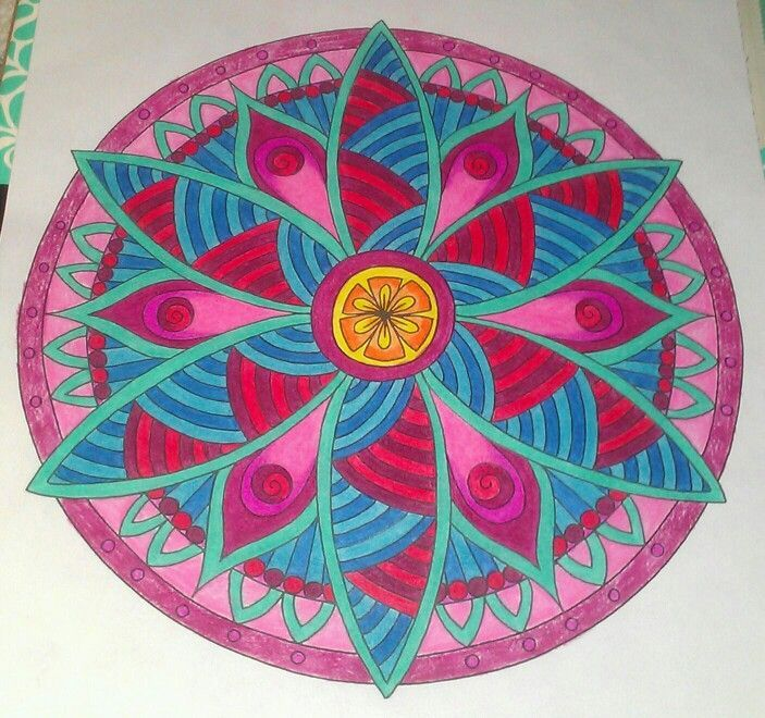 Flower mandalas Finished Adult coloring pages Zenspirations Color