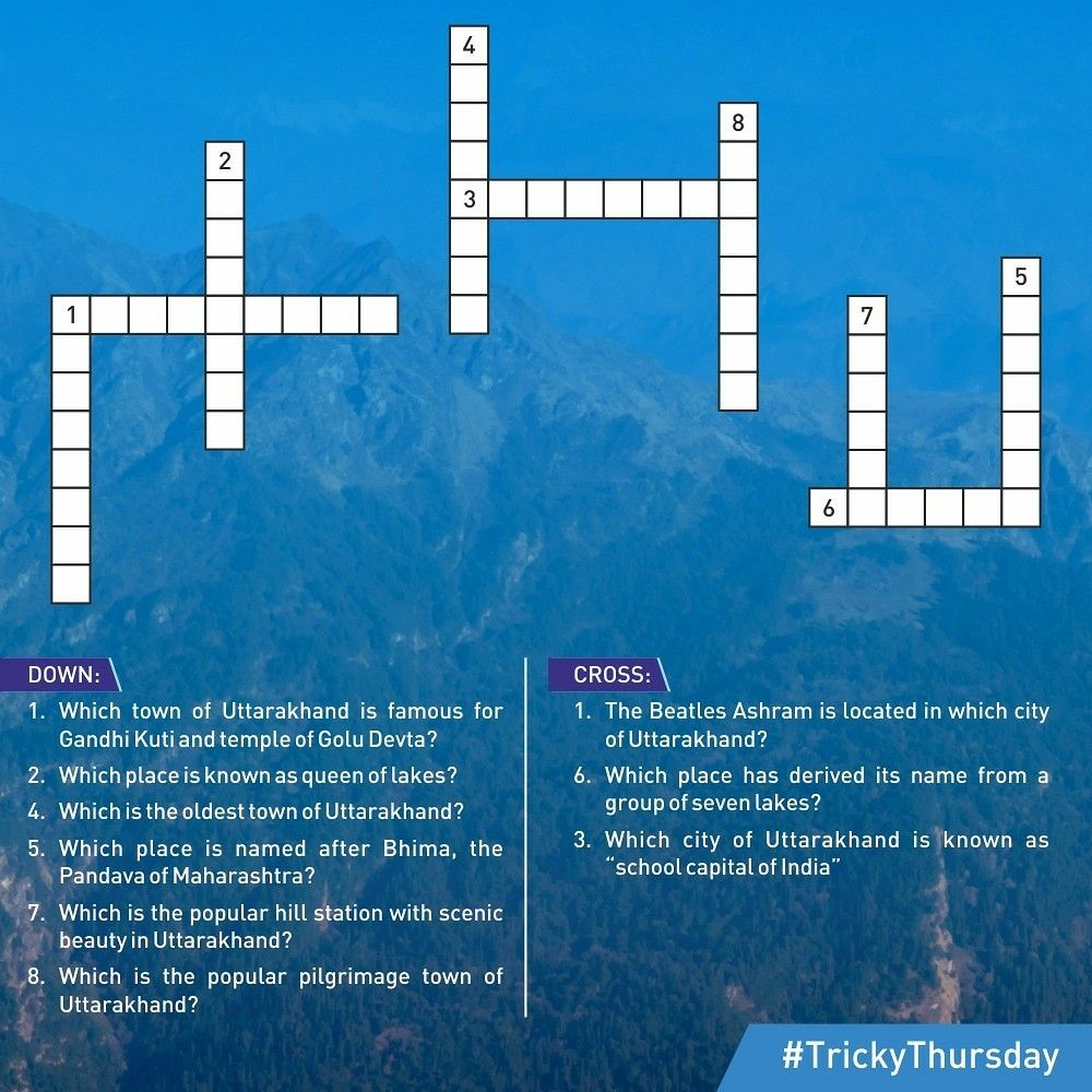 Trickythursday Are You Ready For This Tricky Thursday Find The Names Of Popular Destinations In This Crossword Uttarakhand U Uttarakhand Names The Beatles