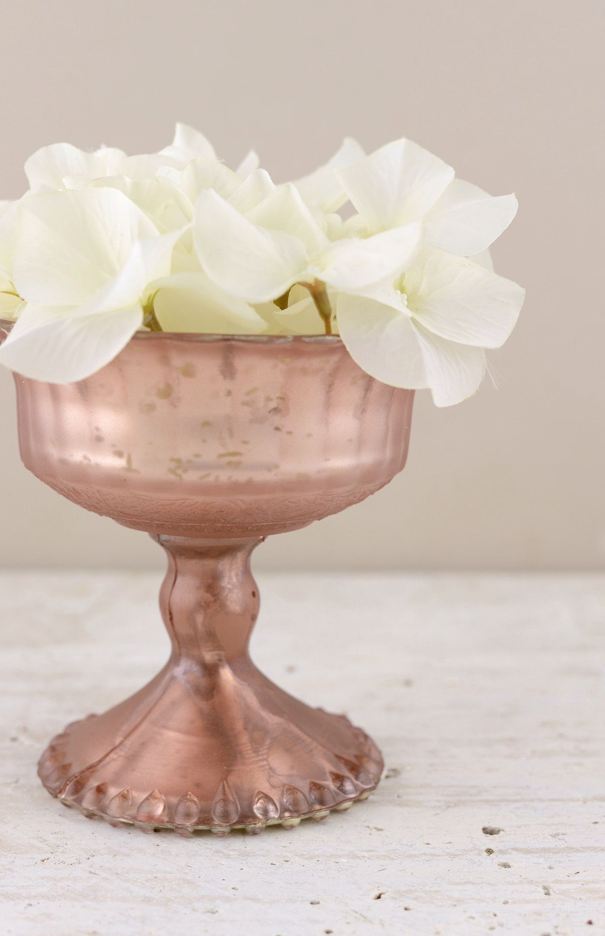 Mercury Glass Compote Rose Gold 4.5in Gold glass, Small