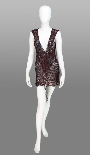 Macrame tunic in garnet cord French 1960s