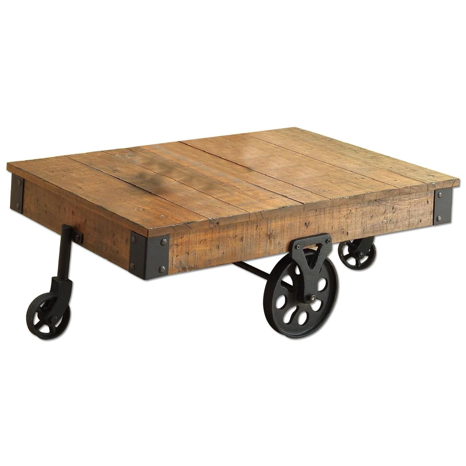 Whimsical Distressed Country Wagon Coffee Table Cart