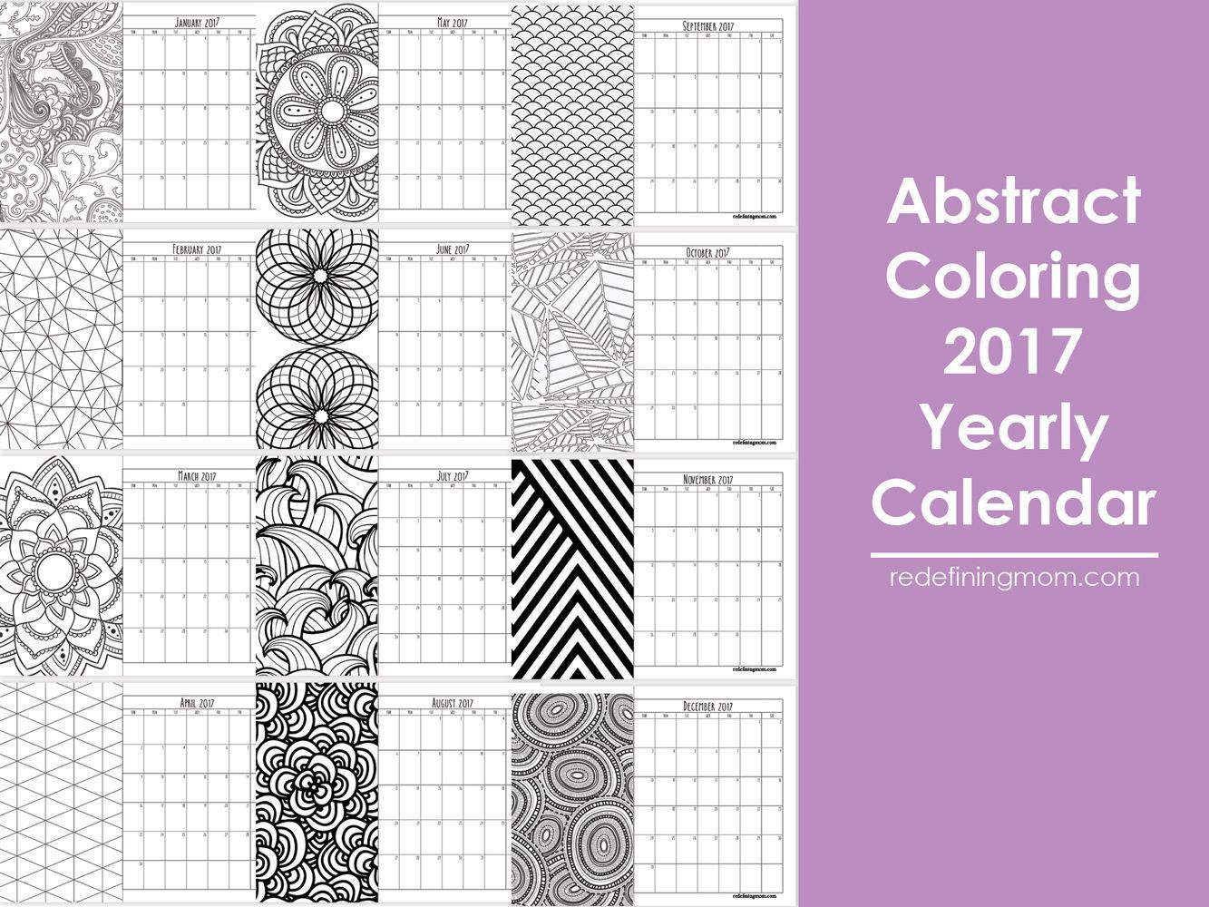 Abstract Adult Coloring 2017 Calendar
